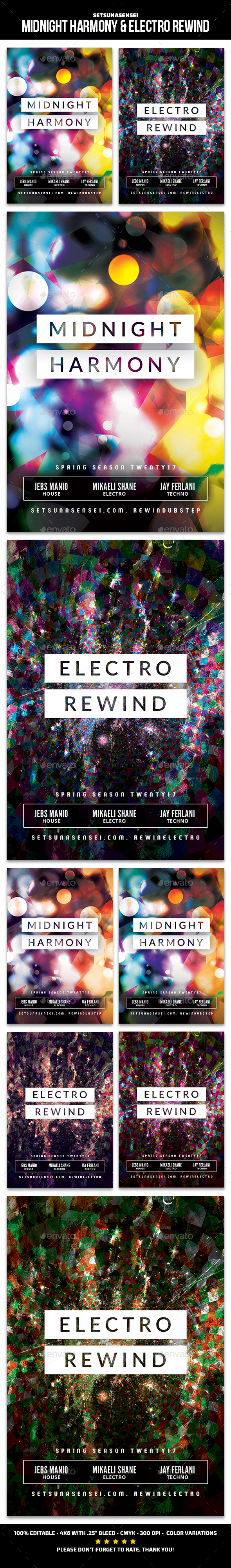 Midnight Harmony & Electro Rewind Flyer - Clubs & Parties Events