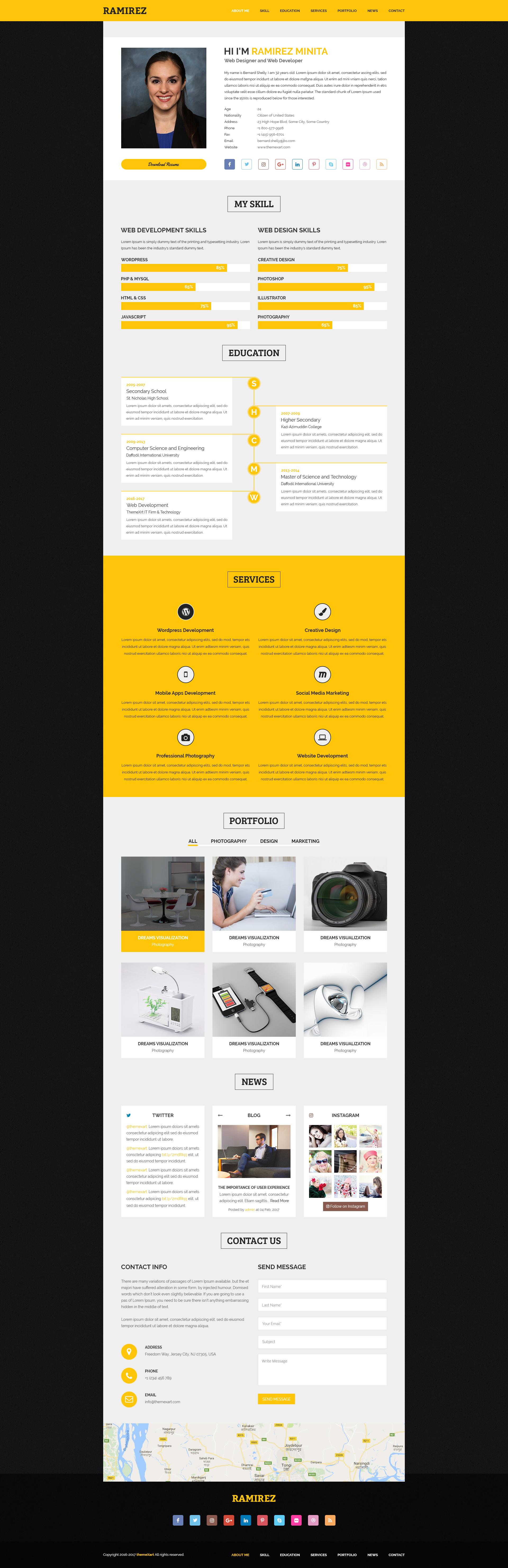 ramirez   cv    vcard    portfolio by themexart