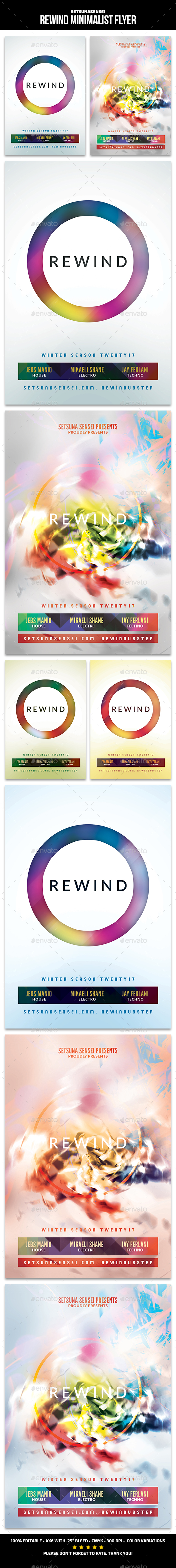 Rewind Minimalist Flyer - Clubs & Parties Events