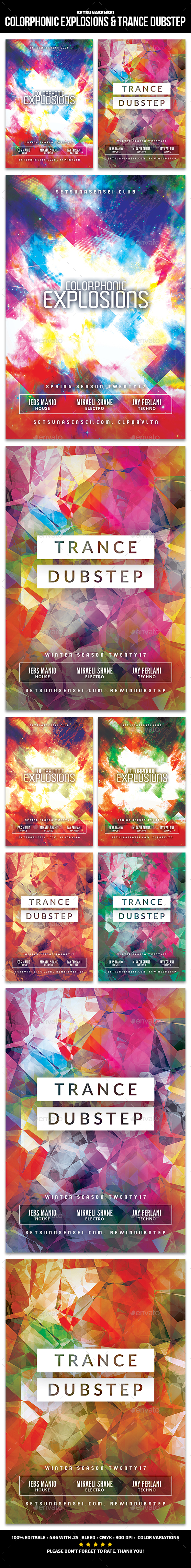 Colorphonic Explosions & Trance Dubstep Flyer - Clubs & Parties Events
