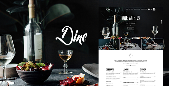 Dine - Elegant Restaurant WordPress Theme - Restaurants & Cafes Entertainment