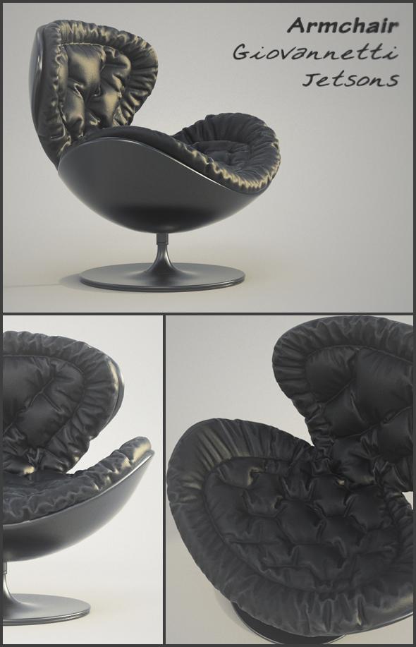 Armchair Giovannetti Jetsons Black - 3DOcean Item for Sale