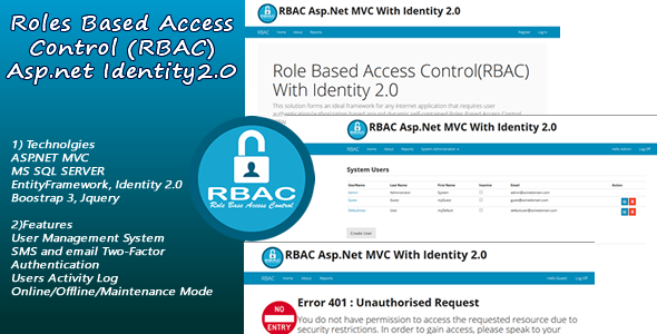 Roles Based Access Control(RBAC) with ASP.NET MVC Identity 2.0 - CodeCanyon Item for Sale