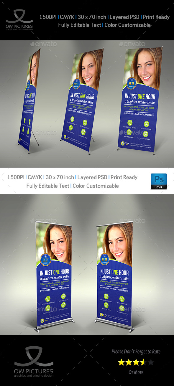 Dental Clinic Signage Roll Up Template Vol2 - Signage Print Templates