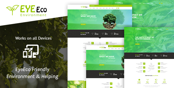 EyeEco Friendly Environmental Nature Ecology Template - Nonprofit Site Templates