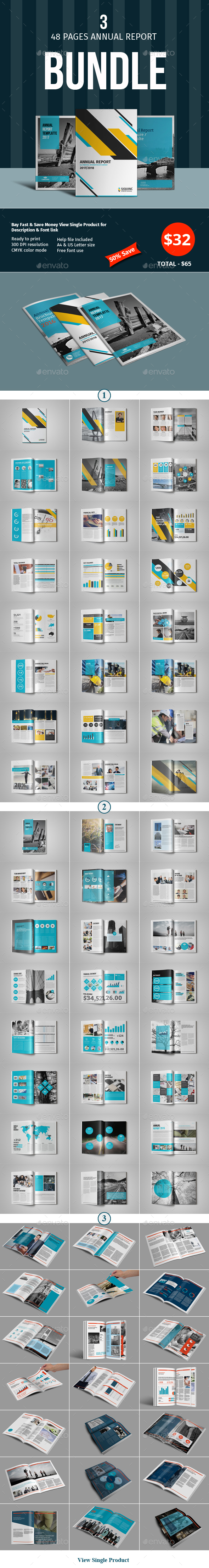 48 Pages Annual Report Template Bundle - 2 - Corporate Brochures