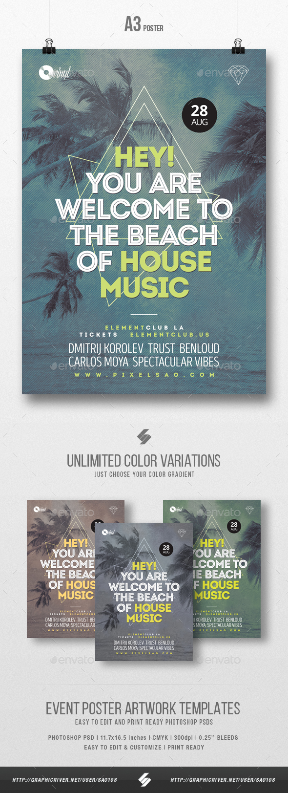 Beach of House Music - Party Flyer / Poster Template A3 - Clubs & Parties Events