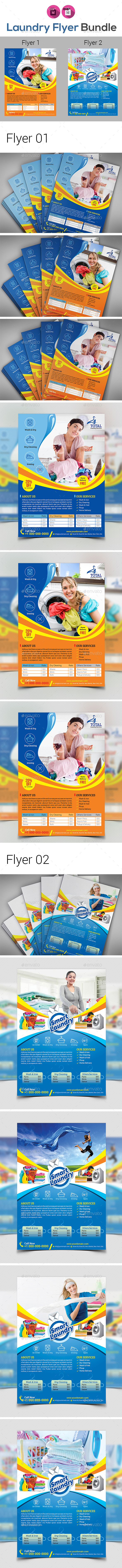 Laundry & Dry Cleaning Services Flyer Bundle V2 - Flyers Print Templates