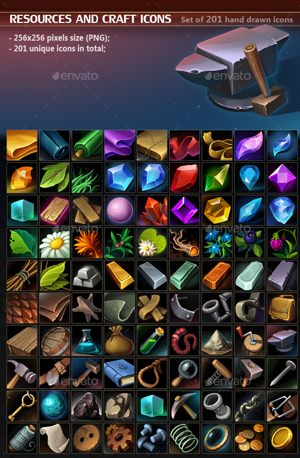 Resources and Craft Icon Pack - Miscellaneous Game Assets