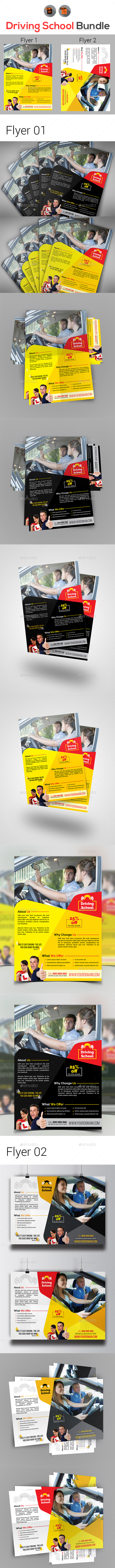 Driving School Flyers Bundle - Flyers Print Templates
