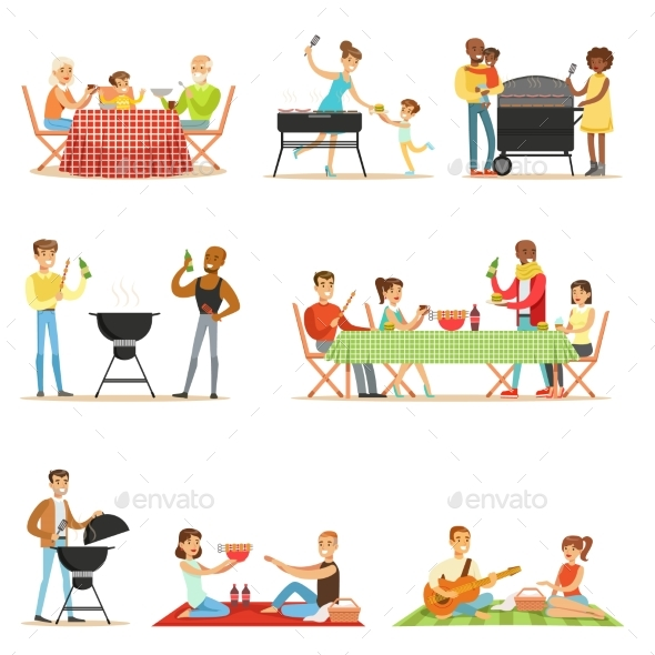 People Outdoors Eating and Cooking - People Characters