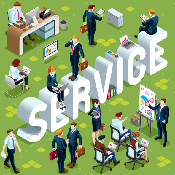 Service Isometric People 3D Set Vector Illustration - Services Commercial / Shopping