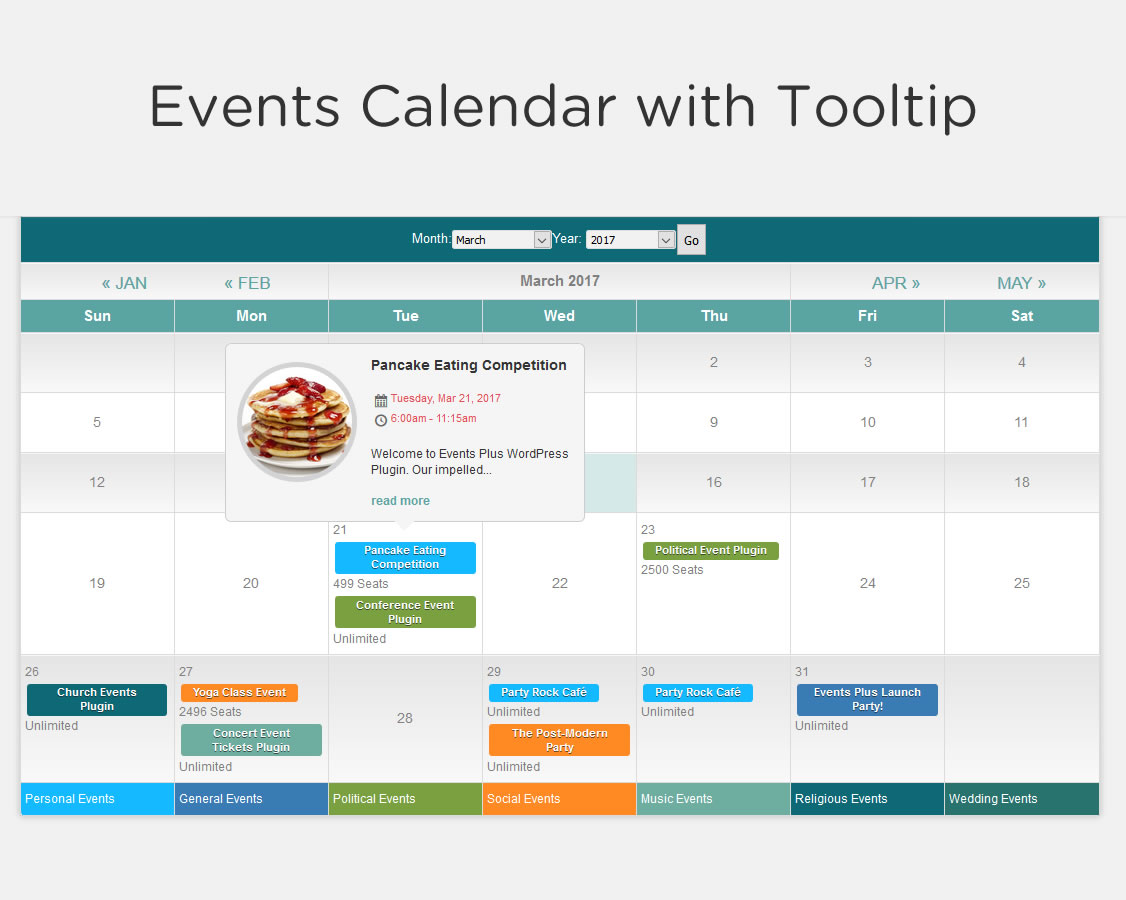 event calendar for website
