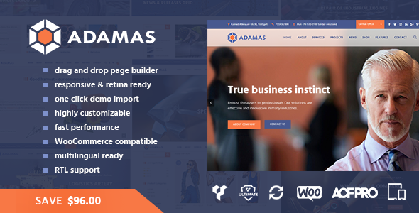 Adamas – Advanced Business WordPress Theme