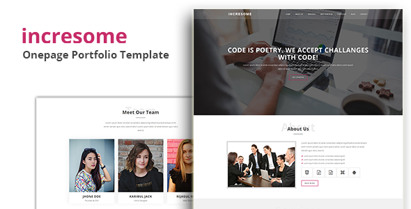 incresome – Onepage Portfolio Template