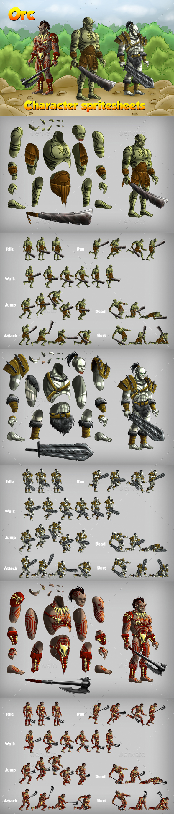 2D Game Orc Character Spritesheet - Sprites Game Assets