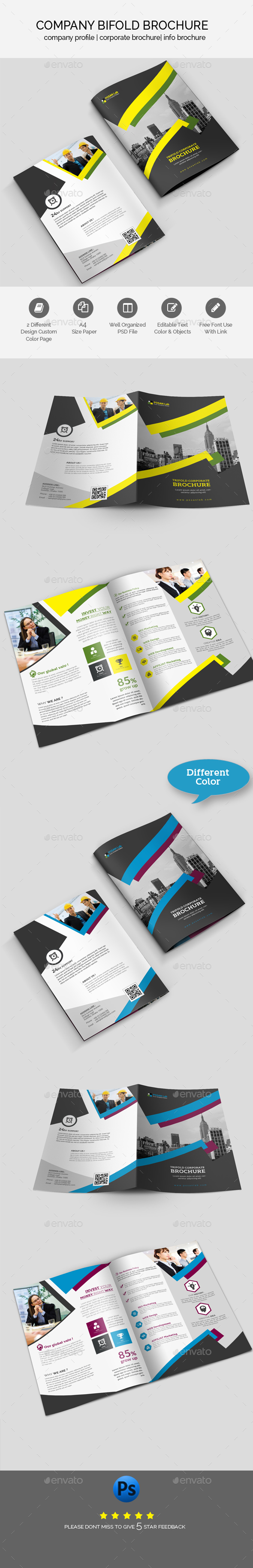 Business Bifold Brochure Template - Brochures Print Templates