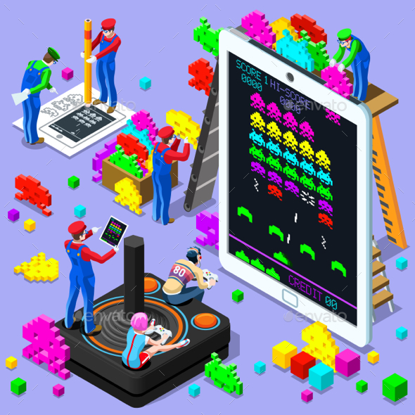 Video Game Retro Gaming Isometric People Vector Illustration - Computers Technology