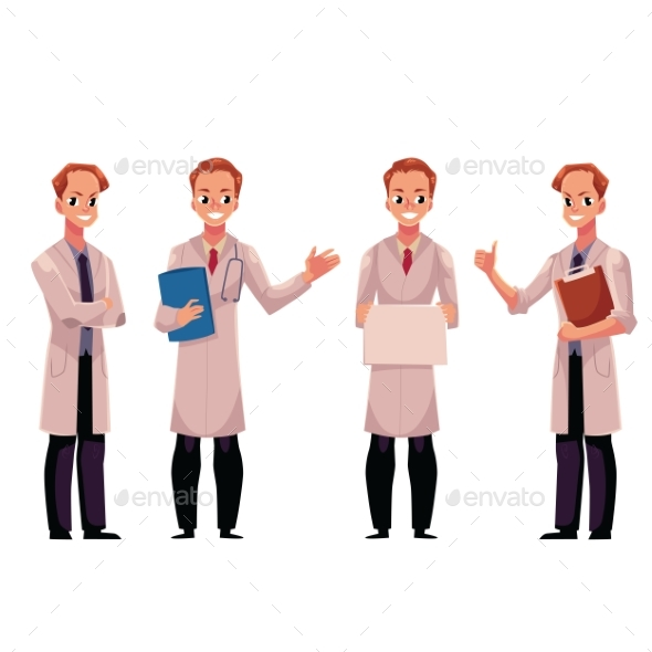 Set of Male Doctors in White Medical Coats - Health/Medicine Conceptual
