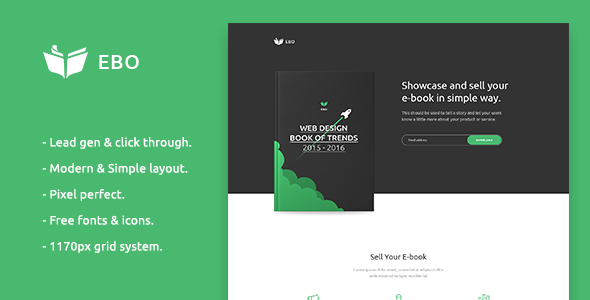 Ebo - Ebook Landing Page PSD Template - Marketing Corporate