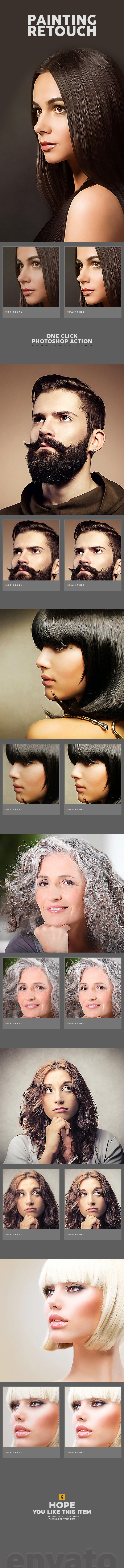 Painting Retouch Photoshop Action - Photo Effects Actions