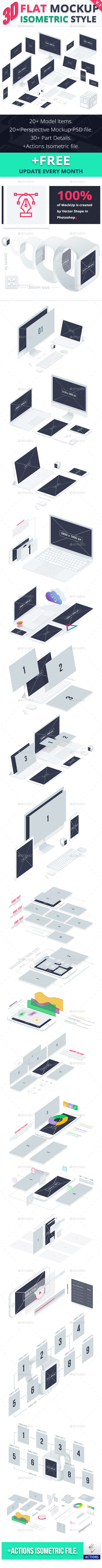 3D Flat Mockup Screen - Isometric - Product Mock-Ups Graphics