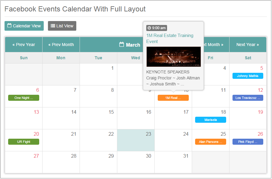 Calendar Events : Tiva events calendar for php by theme codecanyon