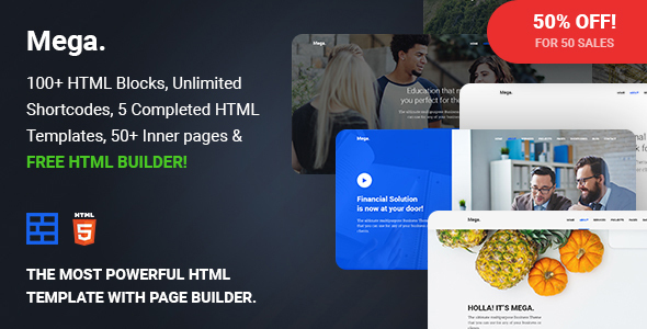 Mega – Multipurpose Responsive Template with Page Builder