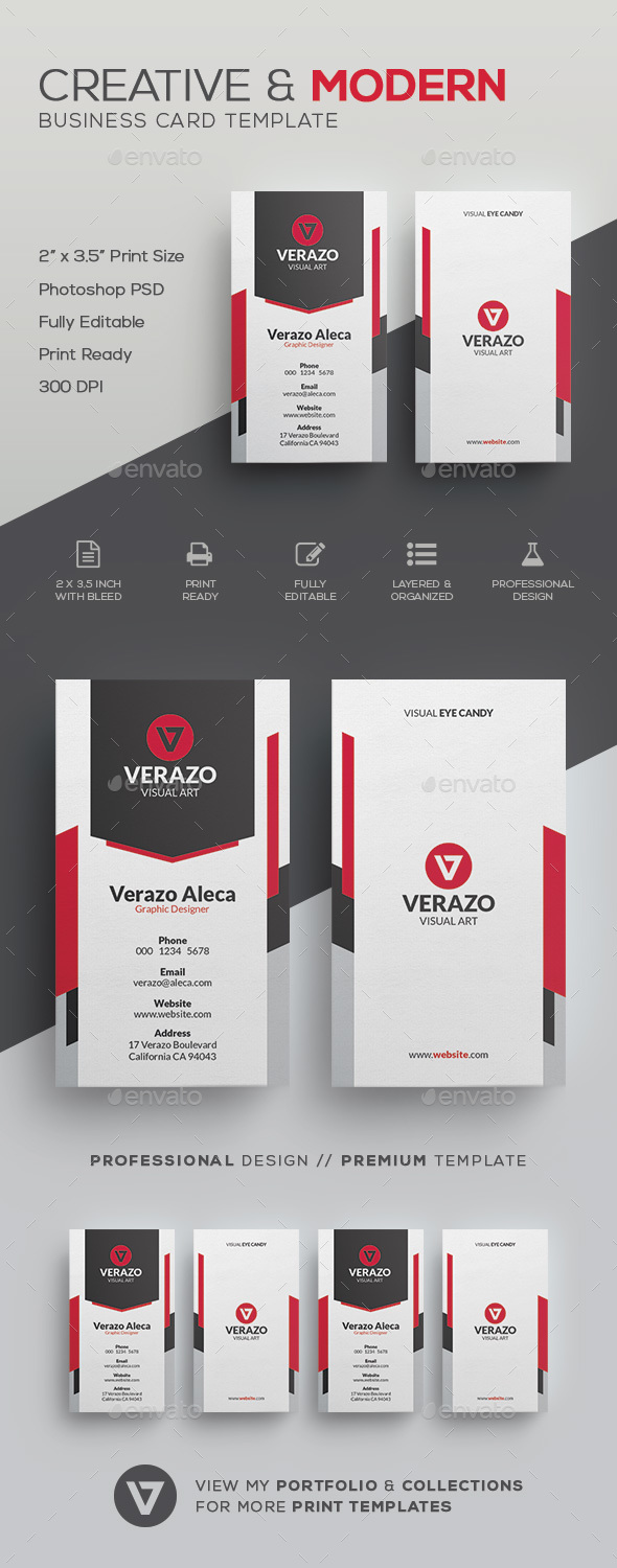 Creative modern business card template by verazo graphicriver creative modern business card template corporate business cards wajeb