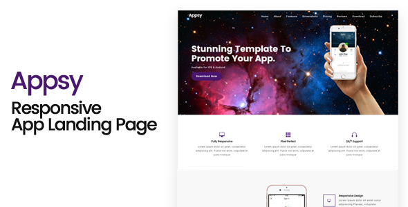 Appsy – Responsive App Landing Page Template