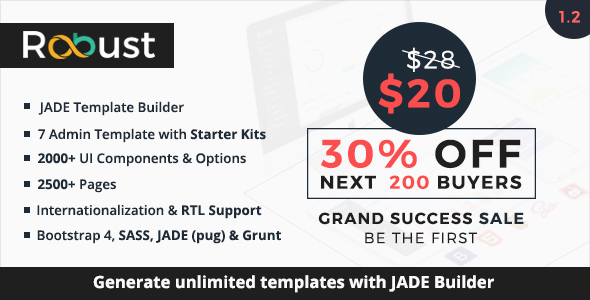 Robust – Responsive Bootstrap 4 Admin Template + Jade Builder
