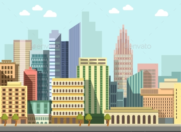 Modern Urban City Landscape Vector Flat Day - Buildings Objects