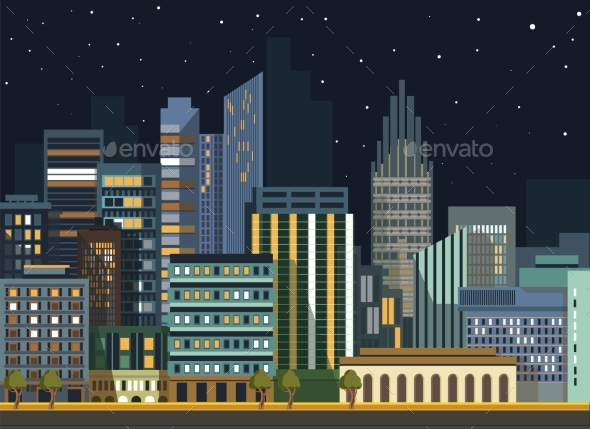Modern Urban City Landscape Vector Flat Night - Buildings Objects