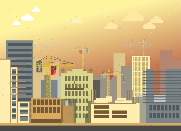 City Construction Building Landscape Vector Flat - Buildings Objects