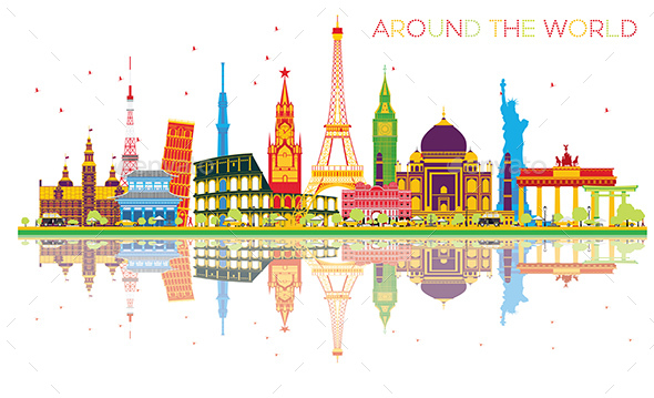 Travel Concept Around the World with Famous International Landmarks and Reflections. - Buildings Objects