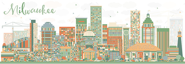 Abstract Milwaukee Skyline with Color Buildings. - Buildings Objects