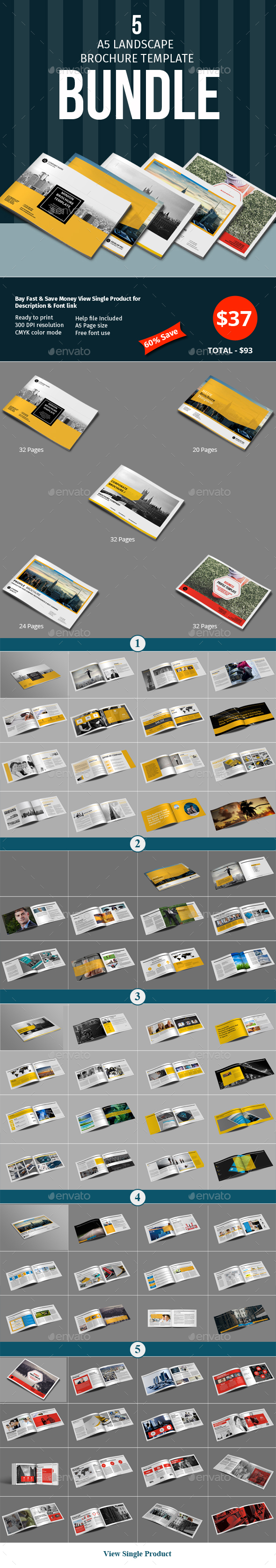 A5 Lanscape Brochure Template Bundle - Corporate Brochures