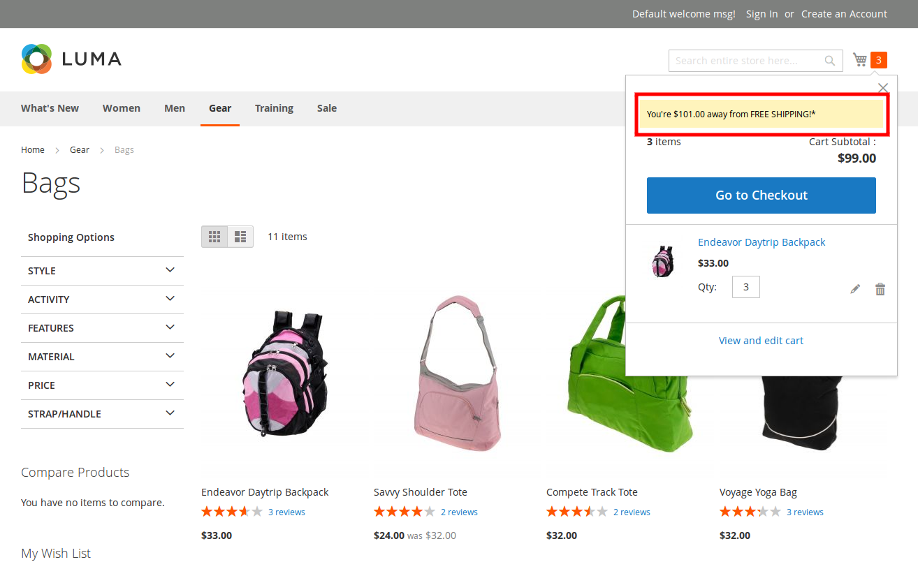 Magento 2 Free Shipping Bar extension CodeCanyon