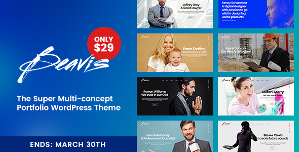 Beavis – Superb Multi-Concept Portfolio WordPress Theme
