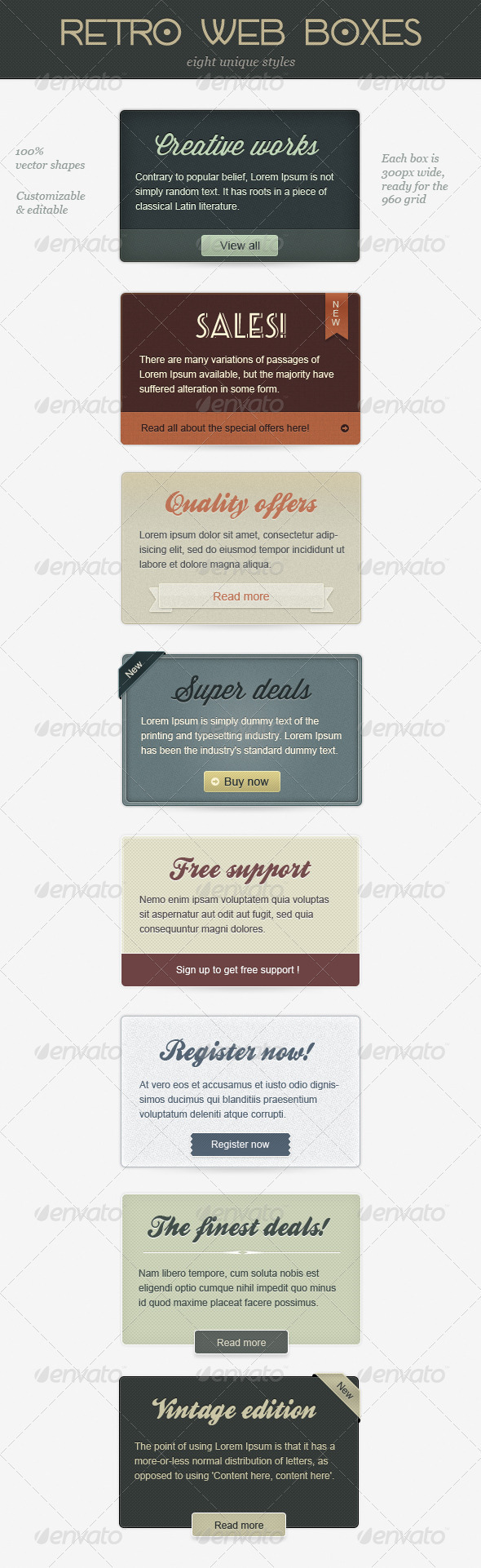 Retro Web Boxes - Banners & Ads Web Elements
