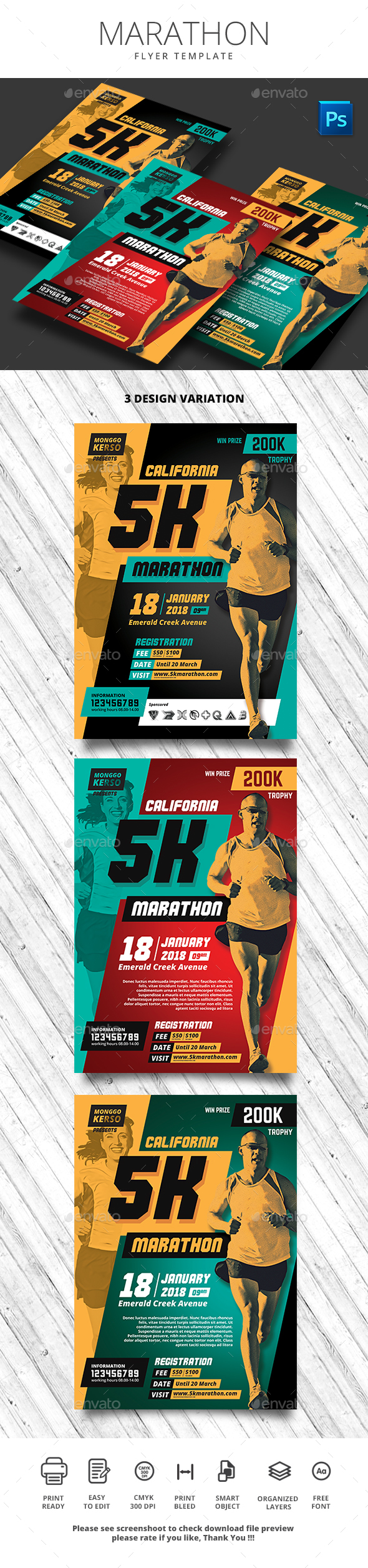 Marathon Flyer - Sports Events