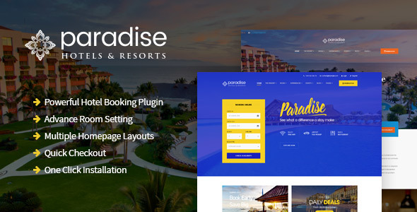 Paradise - Hotels & Resorts Responsive WordPress Theme - Travel Retail