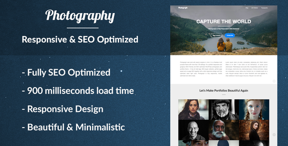 Photograph the Responsive Photography Portfolio WordPress Theme for Photographers – SEO Optimized