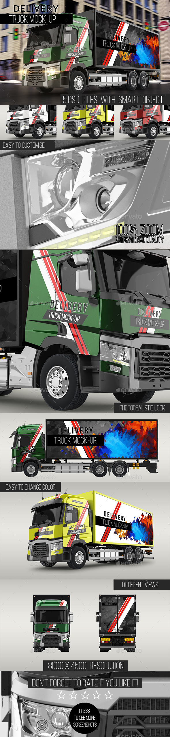 Delivery Truck Mock-Up - Vehicle Wraps Print