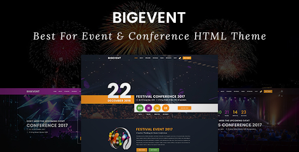 BigEvent – Event, Conference & Meetup HTML Template