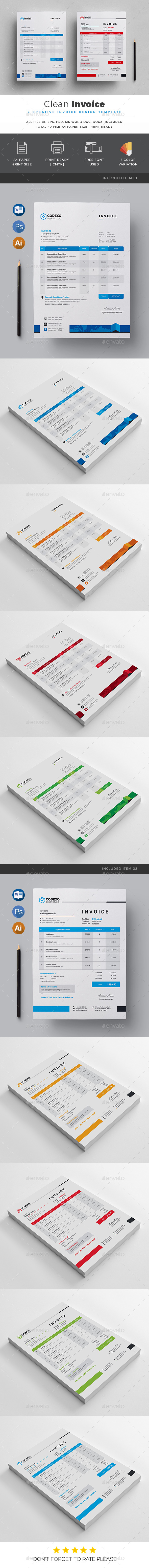 Clean Invoice - Stationery Print Templates