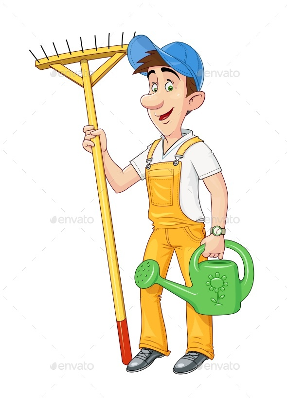 Gardener with Rake and Watering Can - People Characters