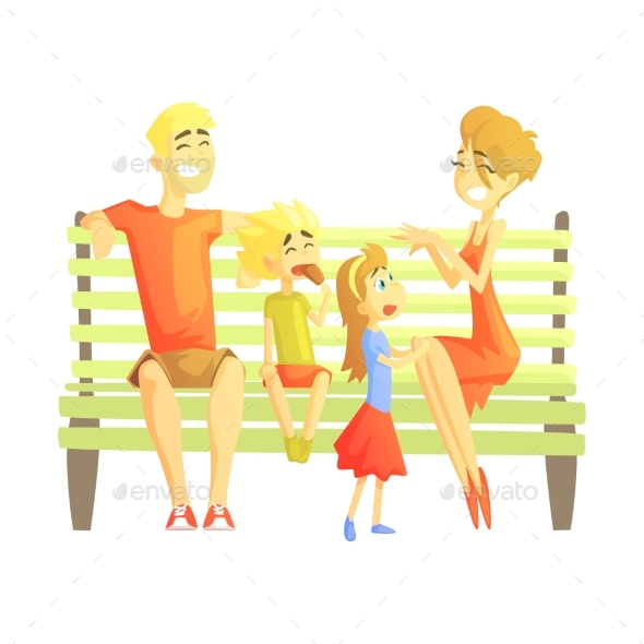 Parents, Son and Daughter Sitting On Park Bench - People Characters