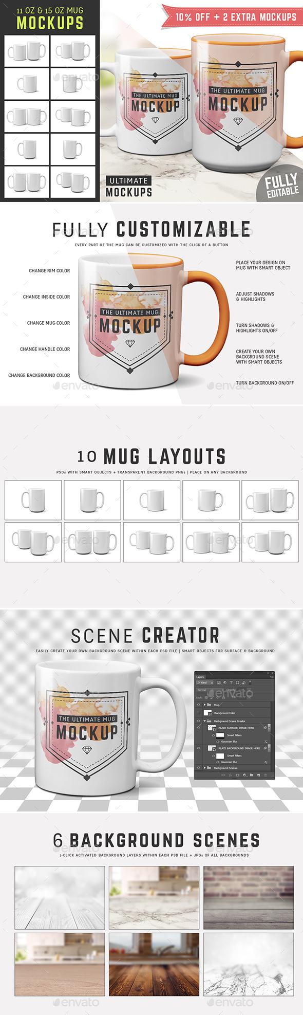 11 oz & 15 oz Mug Mockup Templates - Food and Drink Packaging