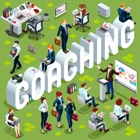 Coaching Isometric People Icon 3D Set Vector Illustration - Concepts Business